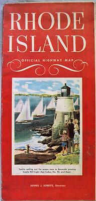 Rhode Island Official Automobile Highway Road Map 1954 Vintage Travel