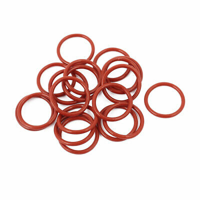 20pcs 1.5mm Thick Heat Oil Resistant Mini O-Ring Rubber Sealing Ring 15mm OD Red