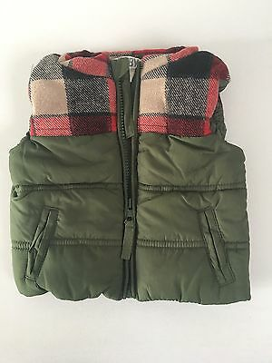 Cotton On Kids Boys Puffs Vest Sz 6-12 Months Khaki And Red Check