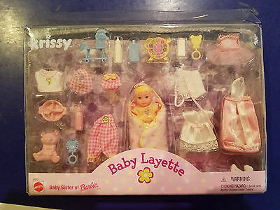 New Barbie Baby Krissy Doll Baby Layette with Accessories 1999