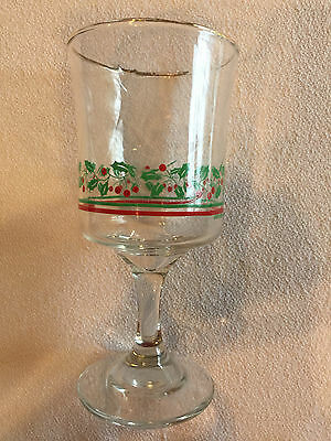 Arby's 1985 Holly Christmas Wine Glass