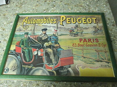 "Automobiles ""PEUGEOT"" framed advertising"