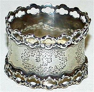 Antique 1856 French Sterling Napkin Ring with Reticulated Border