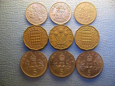 Great Britain  3 , 5 &  Pence  1943 - 1978 / 9 Coins /