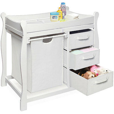 White Nursery Room Baby Changing Table With 3 Storage Baskets Hamper And Mat