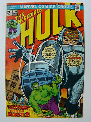 Incredible Hulk #167 Herb Trimpe Art Hulk vs MODOK 1973 FN-