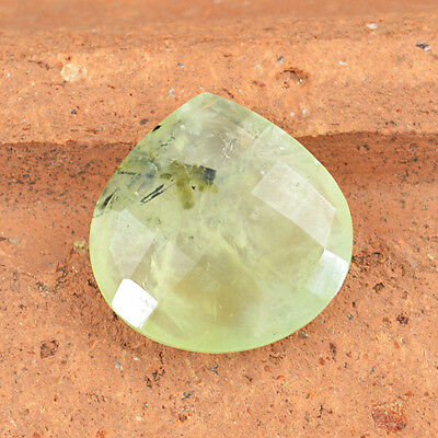 Genuine 18.25 Cts Natural Rich Green Phrenite Pear Shaped Checkered Cut Gemstone