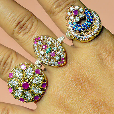Ruby Emerald Sapphire 3 Pcs Turkish Silver Plated Wholesale Rings Lot Av4578