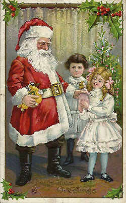 Santa Claus Handing Out Toys to Boy & Girl Vintage Embossed 1910s Postcard