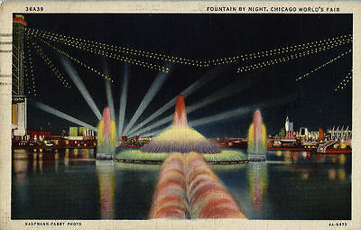Fountain by Night CHICAGO WORLD'S FAIR 1934 Vintage COP Postcard