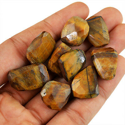 Rare 155.30 Cts / 9 PCS Natural Rich Golden Tiger Eye Drilled Faceted Beads Lot