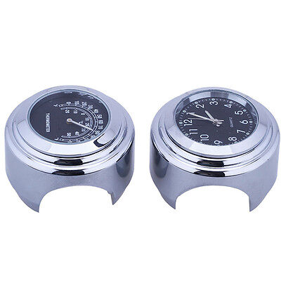 """Black 7/8"""" 1"""" Motorcycle Handlebar Dial Clock & Thermometer For Harley Glide New"""
