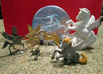 Lot of 7 PEGASUS Figurines - Glass Metal Ceramic and a button