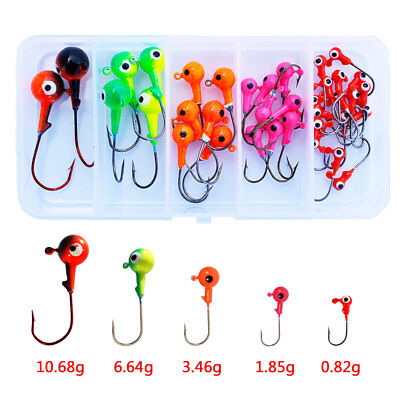 50pcs Jig Head Hook Saltwater Fishing Lure Baits Mixed Color Fishing Tackle