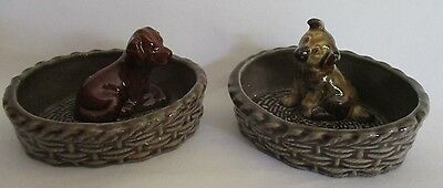 Vintage Wade Cute Puppy In Basket Dish Pin Tray x 2