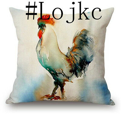 """Decor Colorful Rooster Bling Vintage Cotton Linen Cushion Cover 45cm/18"""" #1"""