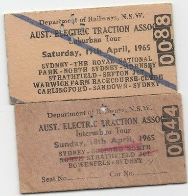 Dept of Railways NSW-Aust. Electric Traction Assoc. x 2 tickets dated Apr 1965