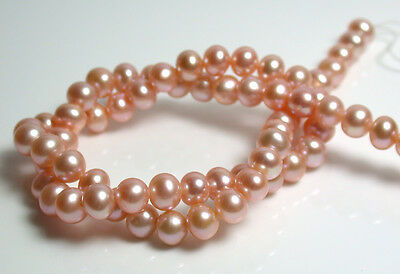 Peach AAA quality 6mm high luster near round freshwater pearl strand