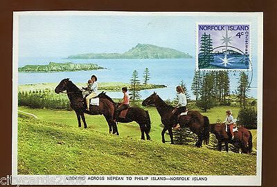 1966 NORFOLK ISLAND Christmas Stamp on Postcard of horse Riders & Philip Is