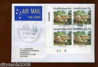 1988 NORFOLK IS 60c Definitive cylinder block of 4 Airmail to UK Bicentennial PM