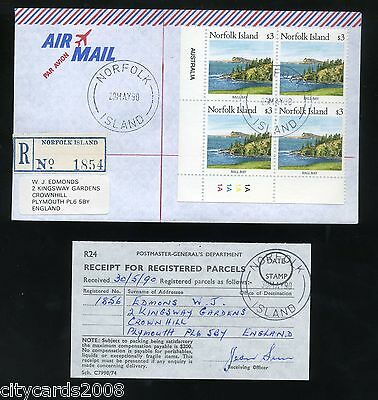 1990 NORFOLK ISLAND  $3 Cylinder Block of 4 Airmail to UK Registered Post
