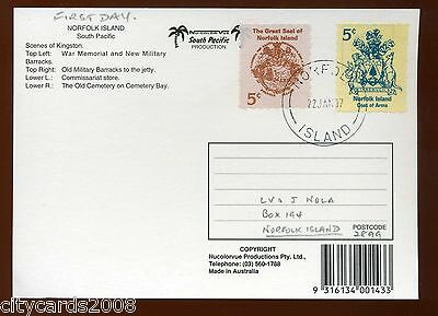1997 NORFOLK ISLAND Great Seal and Arms from booklet First day on Postcard