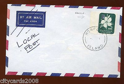NORFOLK ISLAND 1c Hispiscus Cover Airmail crossed out  replaced with Local Post