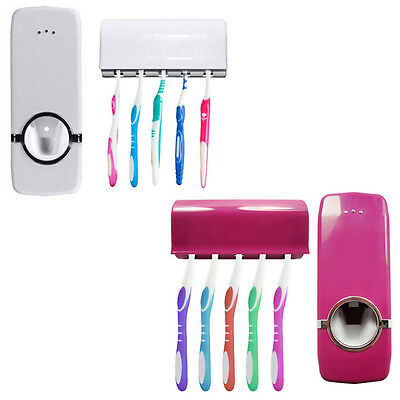 NEW Bathroom Automatic Toothpaste Dispenser+5 Toothbrush Holder Set Wall Mount