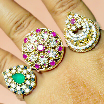 Ruby & Emerald 3 Pcs Swell Turkish Silver Plated Wholesale Rings Lot Av4593