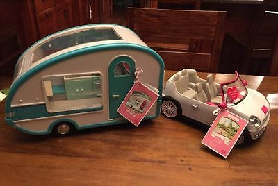 """Our Generation Airstream Trailer Glamper RV Camper & Convertible Car for 6"""" Doll"""