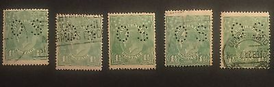 1 1/2d Green KGV Australia Stamp Used X 5 Perf Small OS