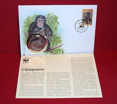 WWF 30 Years OFFICIAL MEDAL--COIN PNC 1986 FDC 1983 Chimpanzee Sierra Leone