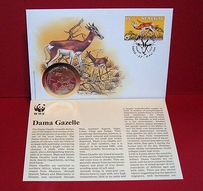 WWF 30 Years OFFICIAL MEDAL--COIN PNC 1986 FDC 1986 Dama Gazelle Senegal