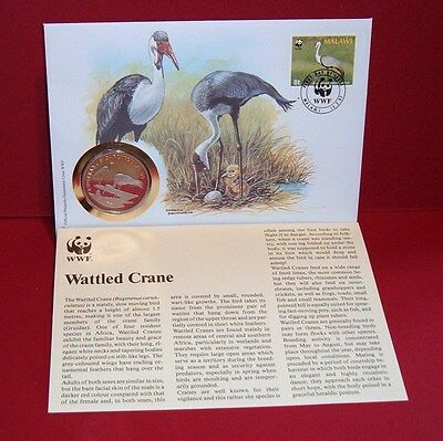 WWF 30 Years OFFICIAL MEDAL--COIN PNC 1986 FDC 1987 Wattled Crane Malawi