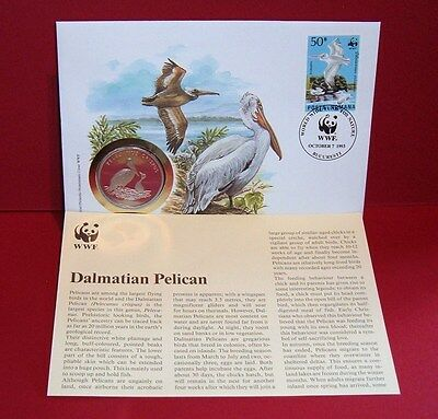 WWF 30 Years OFFICIAL MEDAL--COIN PNC 1986 FDC 1993 Dalmatian Pelican Romania