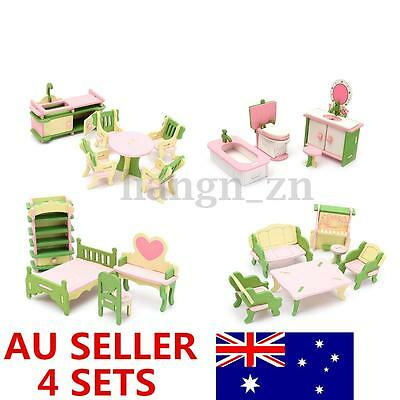 Wooden Dolls House Furniture Kitchen Guest Room Bathroom Bedroom Children Gift