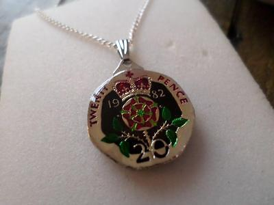 Vintage Enamelled 20 Pence Coin 1982 Pendant & Necklace. Xmas / Birthday Gift