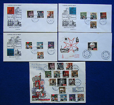 1973 Malta Definitive Issue-First Day Covers(FDC) + Registered Letter SG:486 500