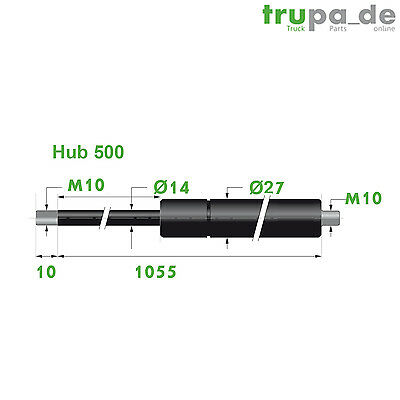 Gasdruckfeder Lift Haubenheber 400N Hub=60 Länge 185 Ø 6//15 mm Made in EU