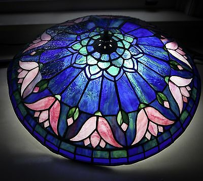 Stained glass light...blue and pink