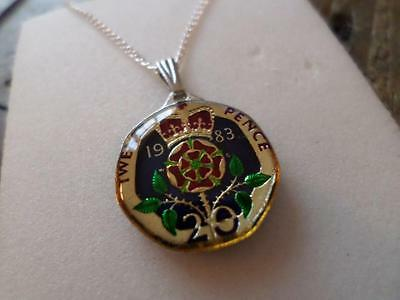 Vintage Enamelled 20 Pence Coin 1983 Pendant & Necklace. Xmas / Birthday Gift