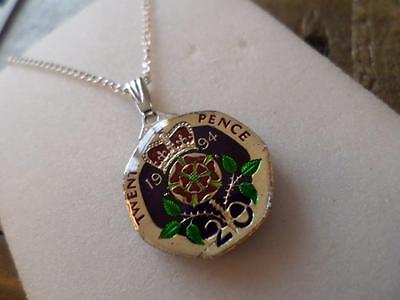 Vintage Enamelled 20 Pence Coin 1994 Pendant & Necklace. Xmas / Birthday Gift
