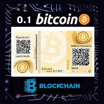 0.1 BITCOIN Gift Certificate Free International Delivery BTC Crypto Currency