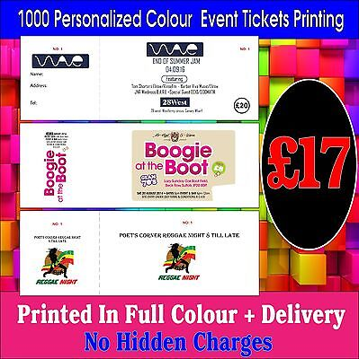 1000 Personalized Colour Any Event Tickets Printing + Cheapest in Ebay