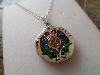 Vintage Enamelled 20 Pence Coin 1995 Pendant & Necklace. Xmas / Birthday Gift