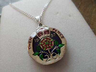 Vintage Enamelled 20 Pence Coin 1997 Pendant & Necklace. 20Th Birthday Present