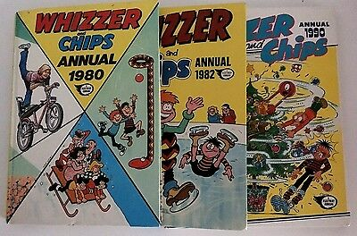 Whizzer & Chips Annuals 1980,1982 &1990 Acceptable condition. Hardback. FREE P&P
