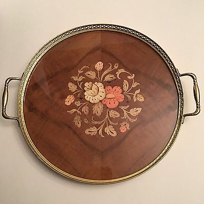 Intarsitalia Vtg Inlaid Wood Marquetry SERVING Gallery TRAY Brass Handled  ITALY