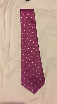 showquest showing tie, cerise with silver spots, ladies equestrian