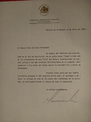 General Pinochet + gustavo collao mira Signed letters 1988